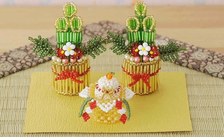 ワクワクお正月飾りセット   ビーズキット ビーズ キット ハンドメイド 門松 鏡餅 縁起物 新年
