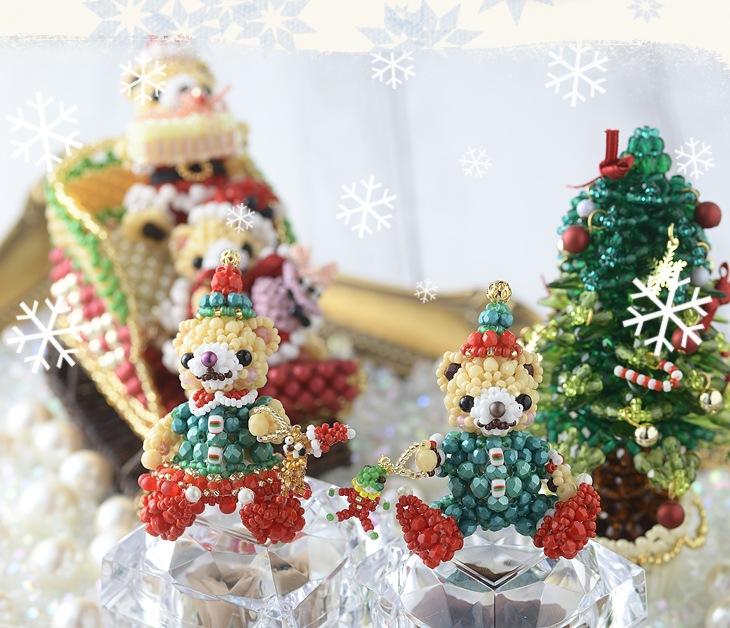 テディベアシリーズ〜クリスマスパーティー・女の子〜   ビーズ キット ハンドメイド