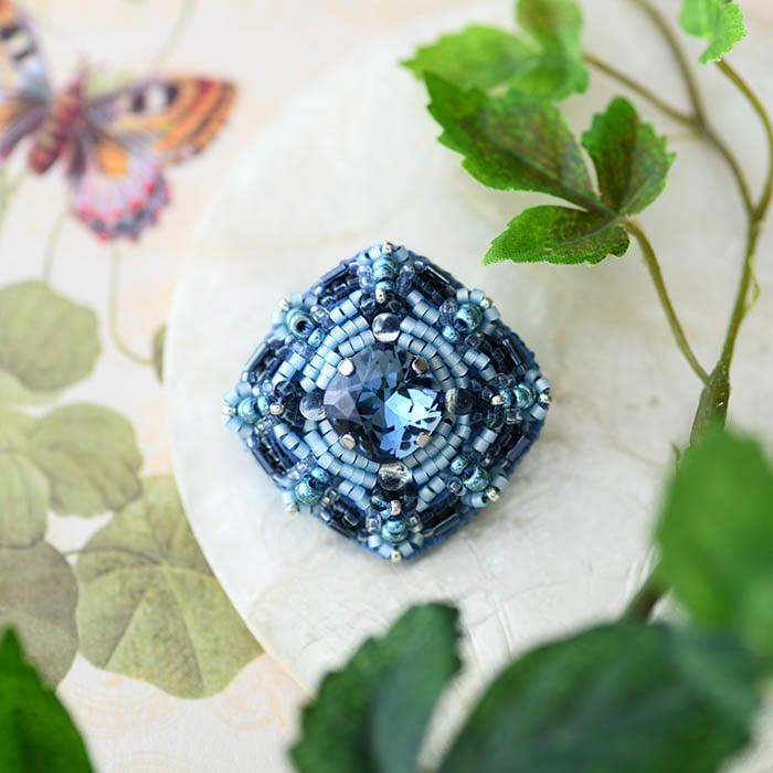 星降る夜ビーズ刺繍ブローチキット(ブルー)