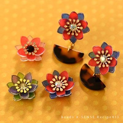 プラバンで作る小花の耳飾り