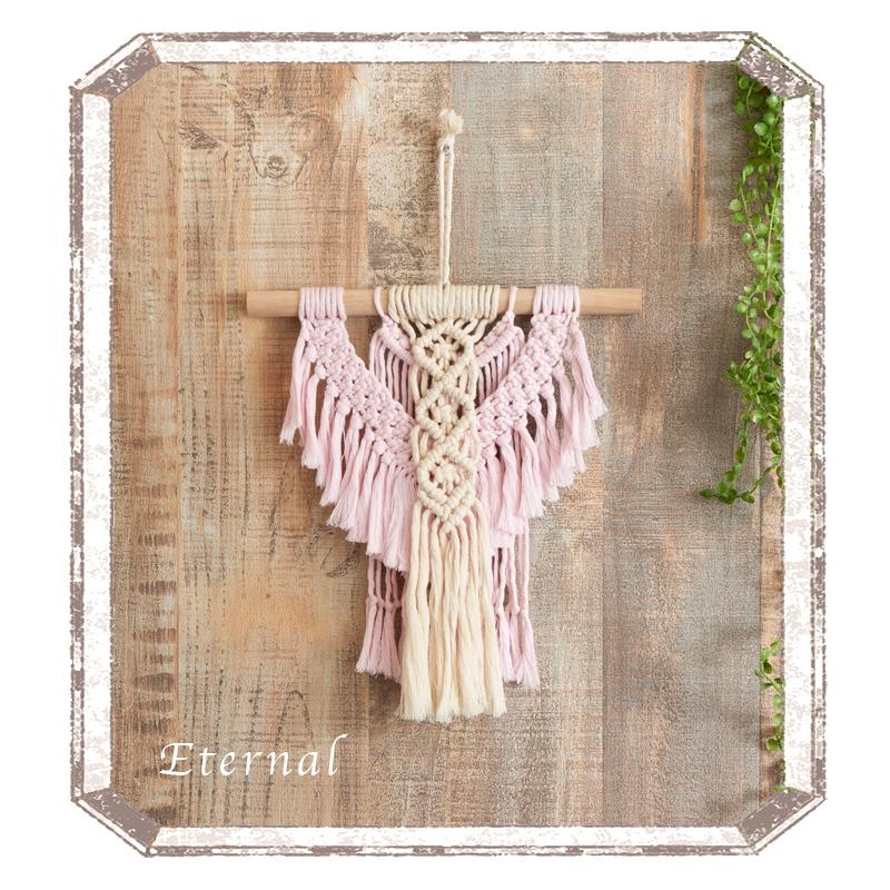 結び模様が美しいマクラメのタペストリー2  エターナル〜ホワイト&ピンク〜