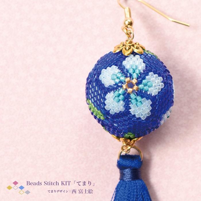 てまり・青い花柄ピアス