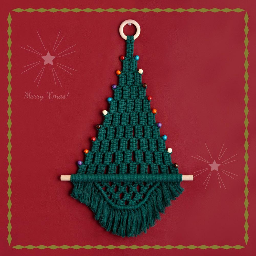 マクラメでつくるクリスマスタペストリーキット 「ホーリーグリーン」