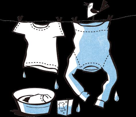 洗濯物を干しているイラスト