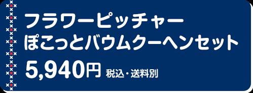 フラワーピッチャー ぽこっとバウムクーヘンセット 5,940円(税込・送料別)