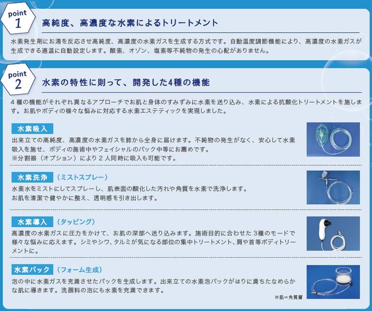 水素吸入/水素水生成器 H2 REBORN PROの特徴