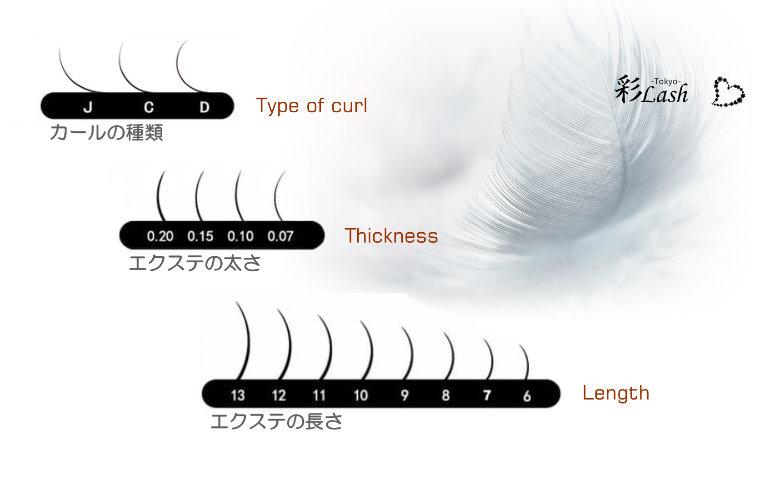 まつげエクステ人工毛の種類