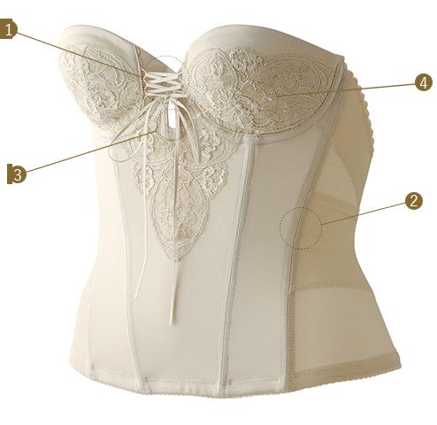 ブライダル専門のインナー お背中が大きくあいたインポートウエディングドレスを美しく着こなす レースバックレスビスチェ