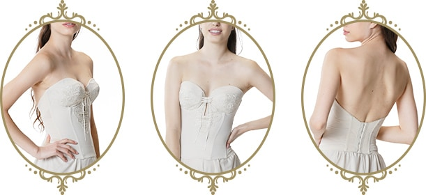 新婦様へおすすめ ドレス用下着 カップ上辺が浮かず、バストの寄せ感調整可能メイドインジャパンのレースバックレスビスチェ