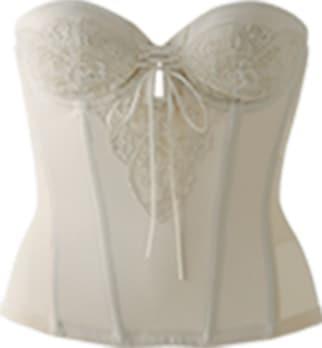 背中の開いたドレスに対応ブライダルインナー|レースバックレスビスチェ