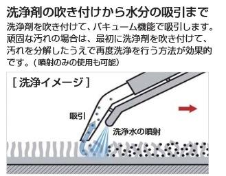 洗浄剤の吹き付けから水分の吸収まで