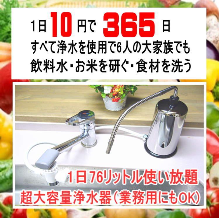 28000リットル浄水器1日10円で365日使用