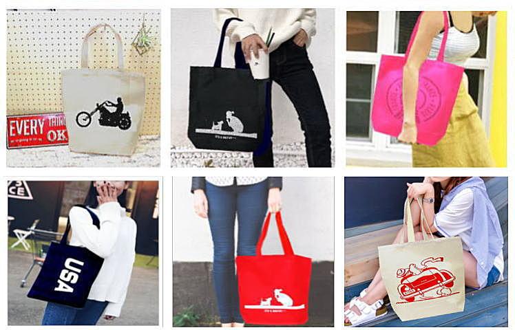 キャンバスのトートバッグ,ラメ・カラーでキラキラ輝く24デザインから選べるおしゃれなトートバッグ