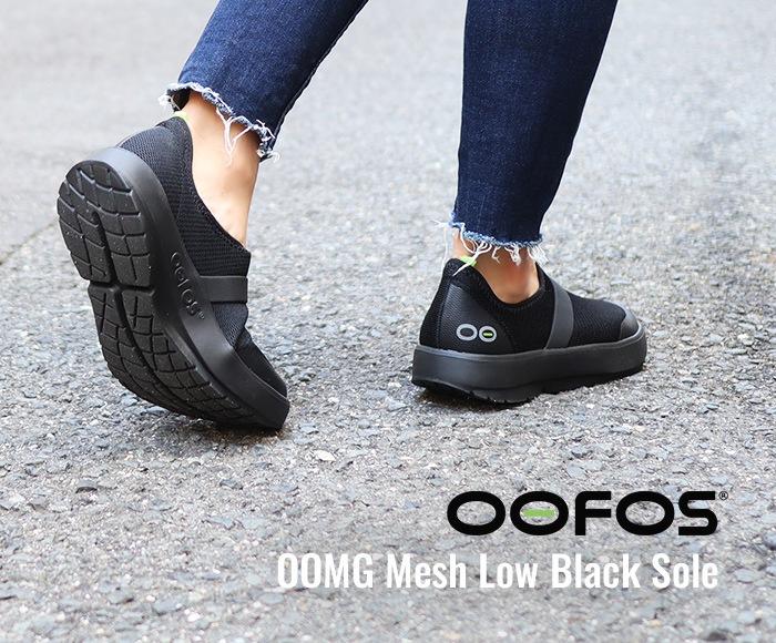 ウーフォス/OOFOS OOMG Mesh Low Black Sole(ウーエムジーメッシュロウ)リカバリーシューズ