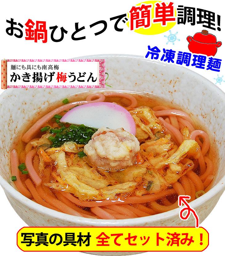 お鍋一つで簡単調理!冷凍調理麺 「かき揚げ梅うどん」うれしい具材付き