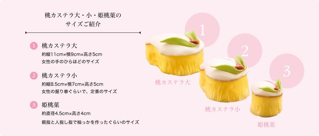 桃カステラ大・小・姫桃菓のサイズご紹介