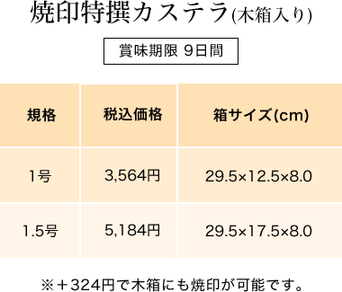 焼印特撰カステラ(木箱入り)
