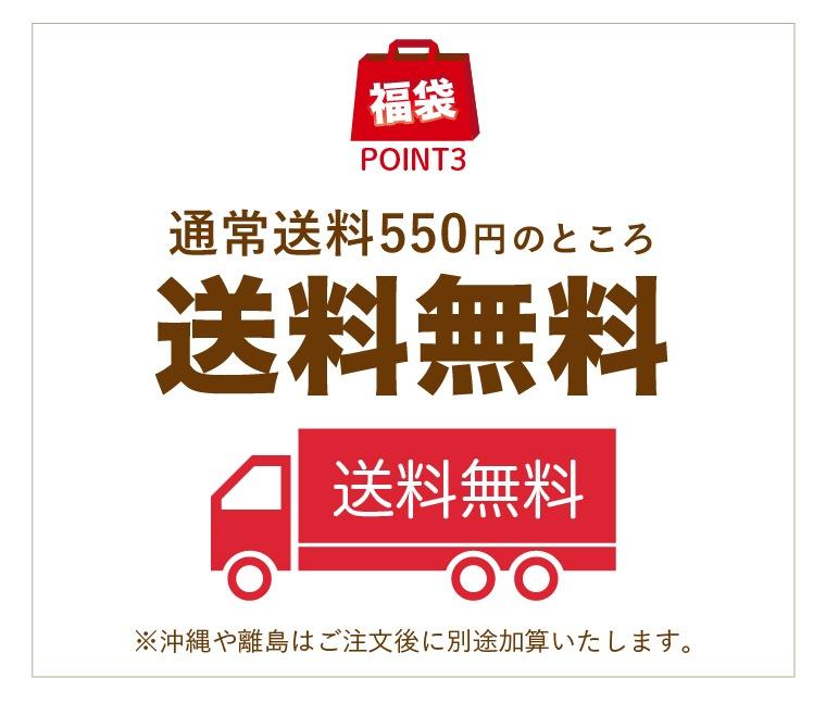 通常送料550円のところ送料無料。沖縄や離島はご注文後に別途加算いたします。