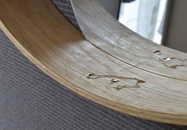 curved wod shelf with mirror