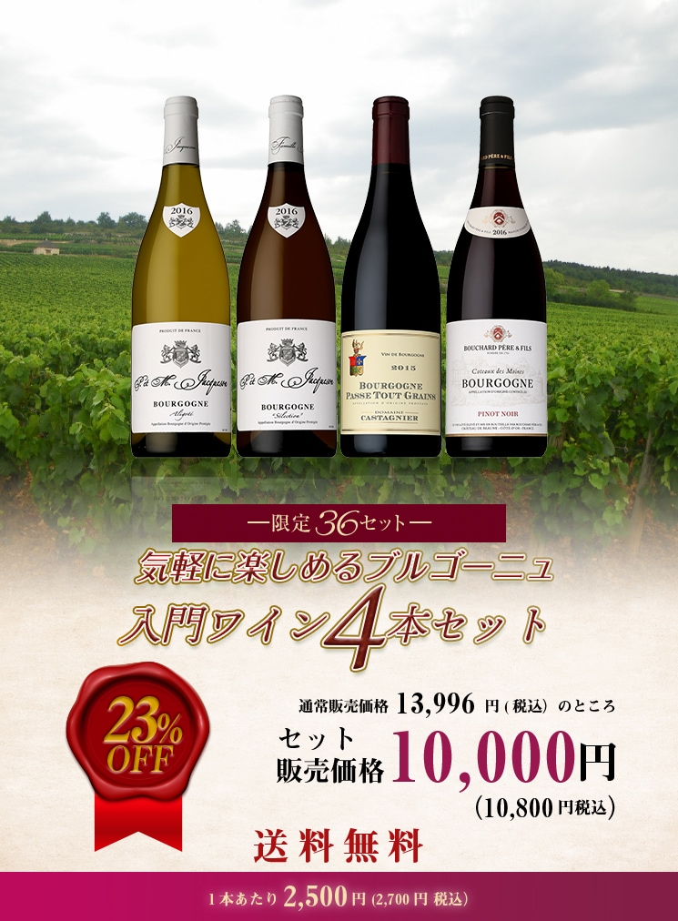 気軽に楽しめるブルゴーニュ入門ワイン4本セット