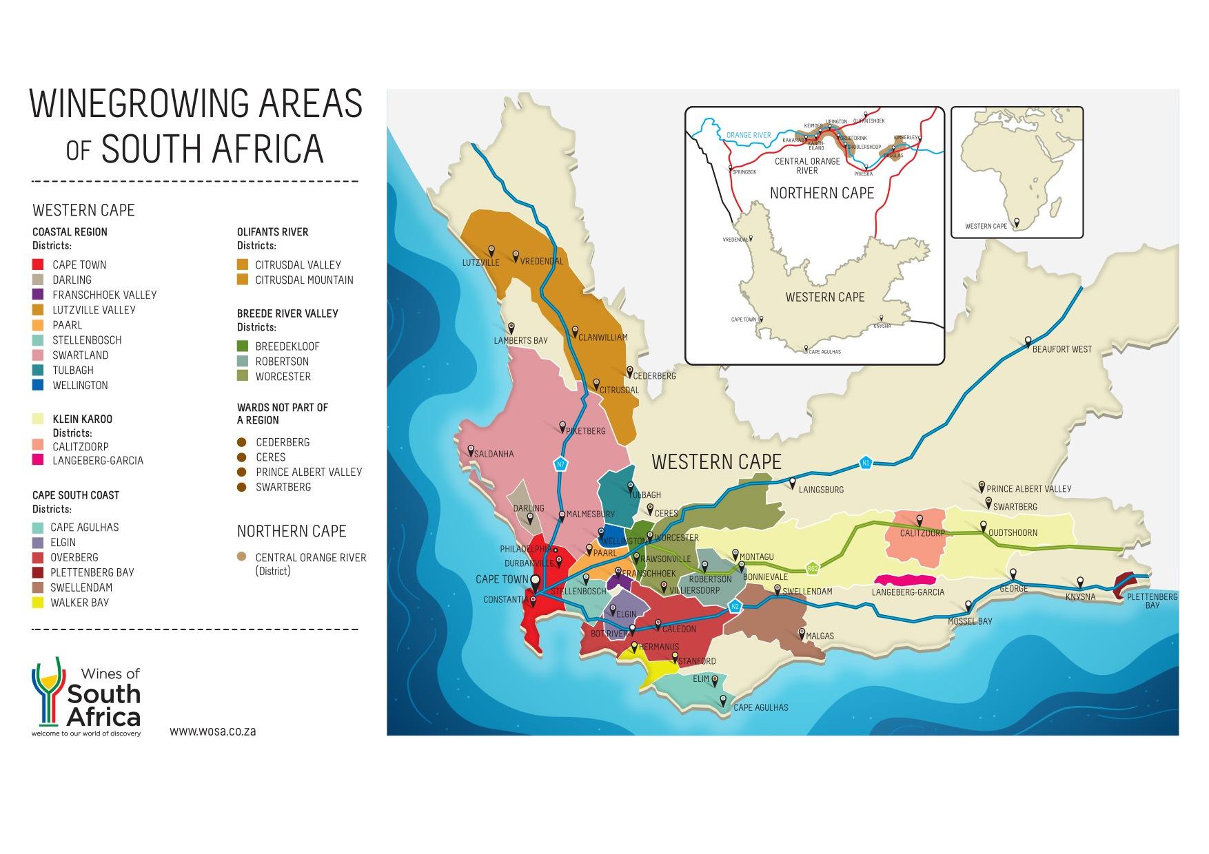 南アフリカのワイン地図