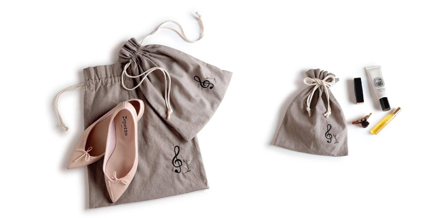 エンブロイダリー(刺繍)巾着 ト音記号