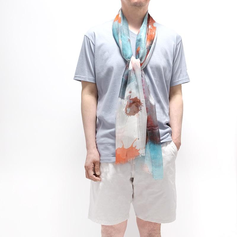 春夏ストール 水彩ドット【オレンジMIX】