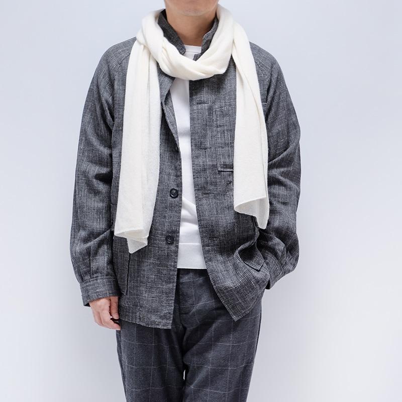 秋のメンズマフラーイタリア製【オフホワイト】