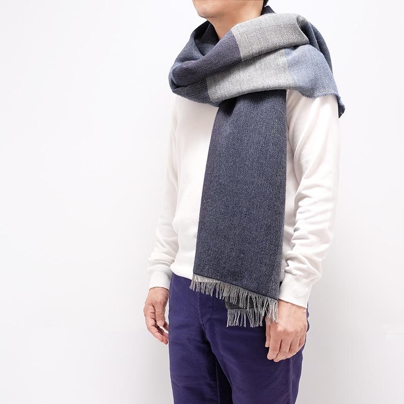 ふんわり暖かい大判メンズストール【幾何学ブルー系】