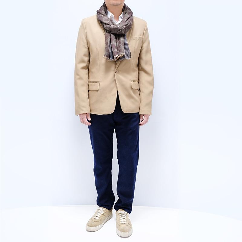 人気のメンズ大判ストール【幾何学カーキブラウン】