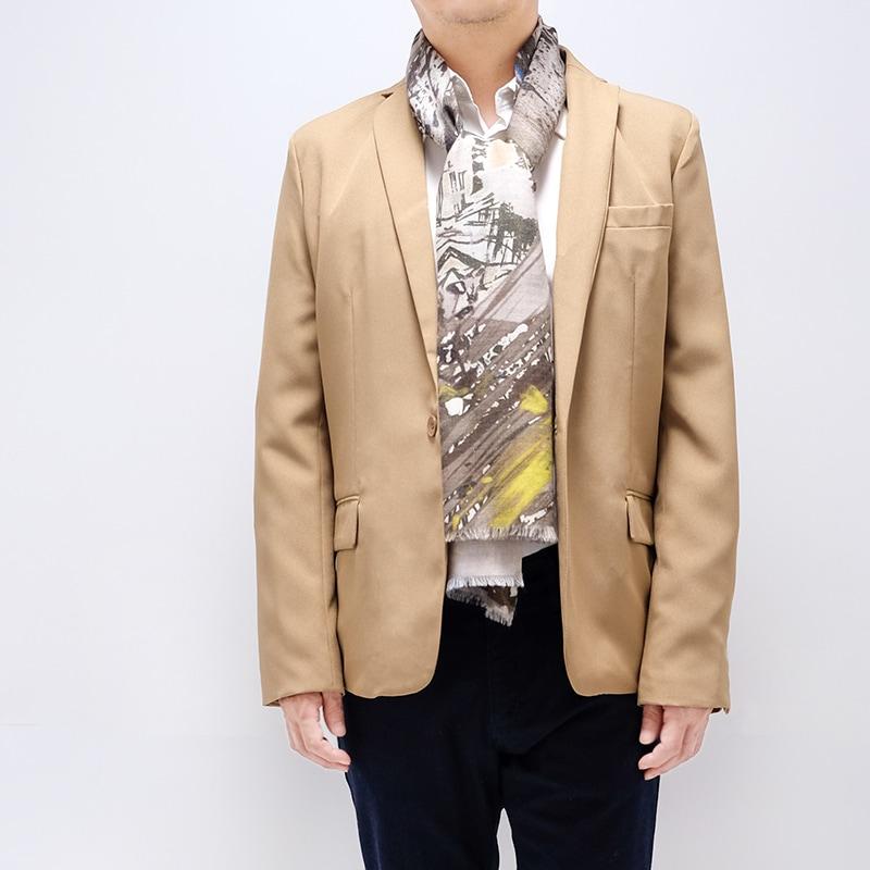 ジャケットにちょうど良いメンズロングストール【抽象柄カーキ色】