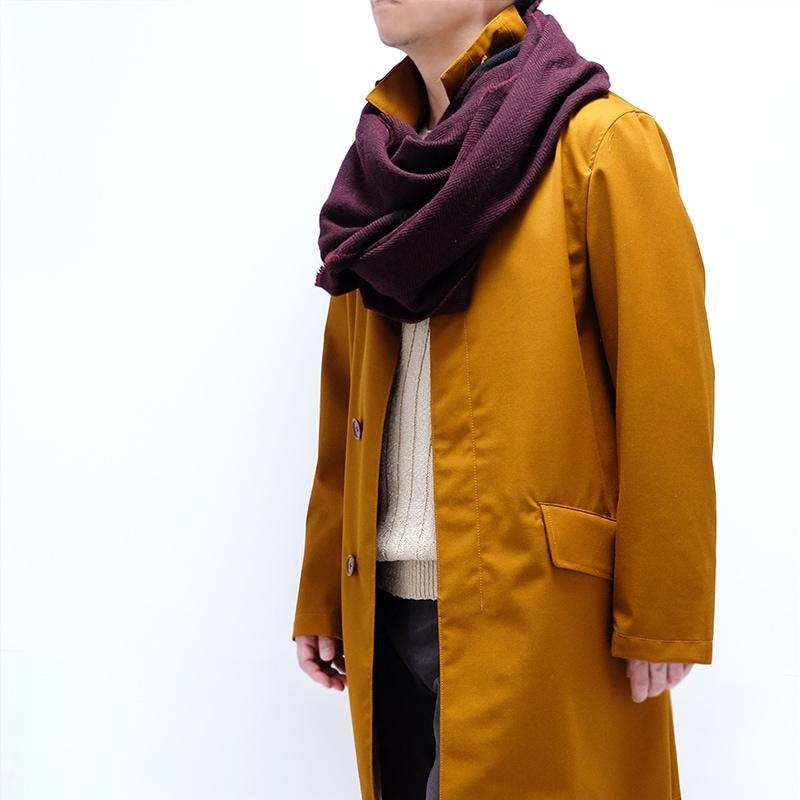 素朴なツイード織りの秋冬ストールメンズ向け【ワインレッド】