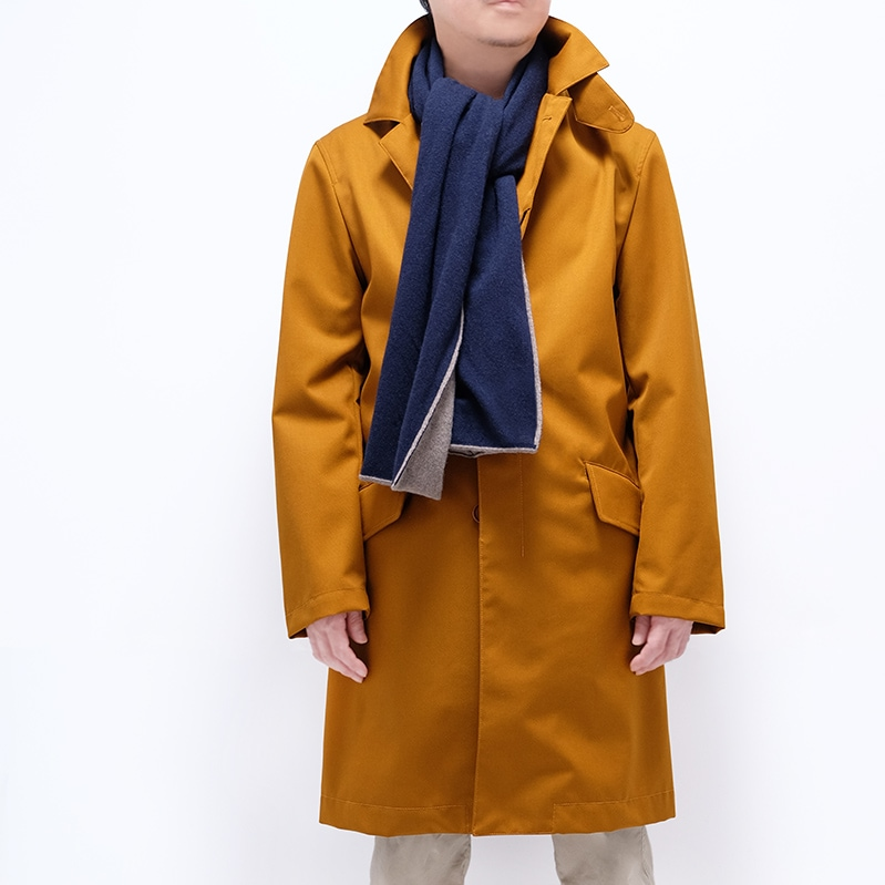 コートに似合うリバーシブルマフラー【ネイビーブラウン】