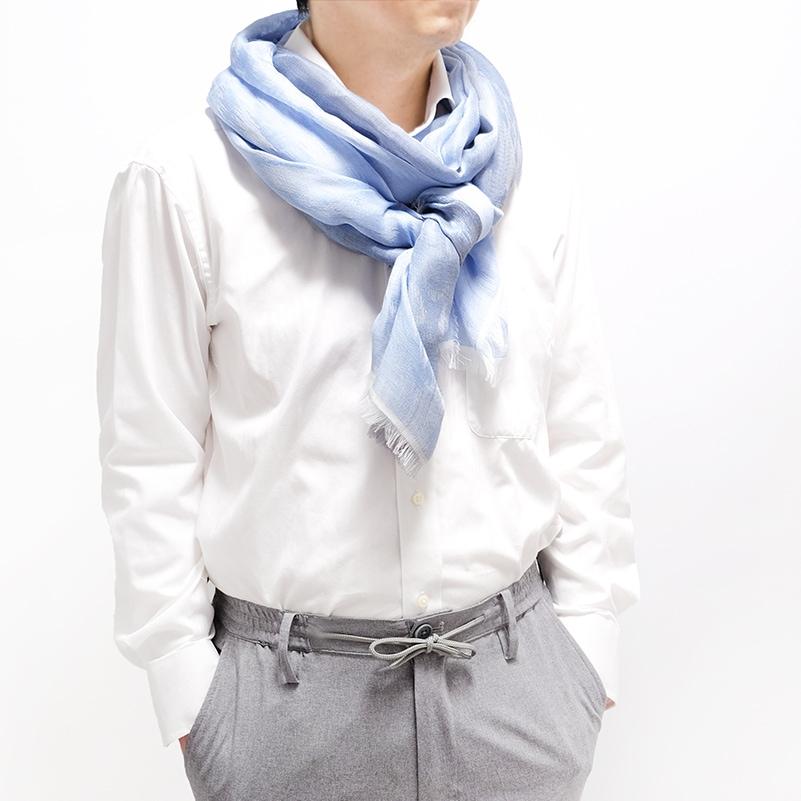 白シャツにちょいセクシーなジャガードストール【ブルー】