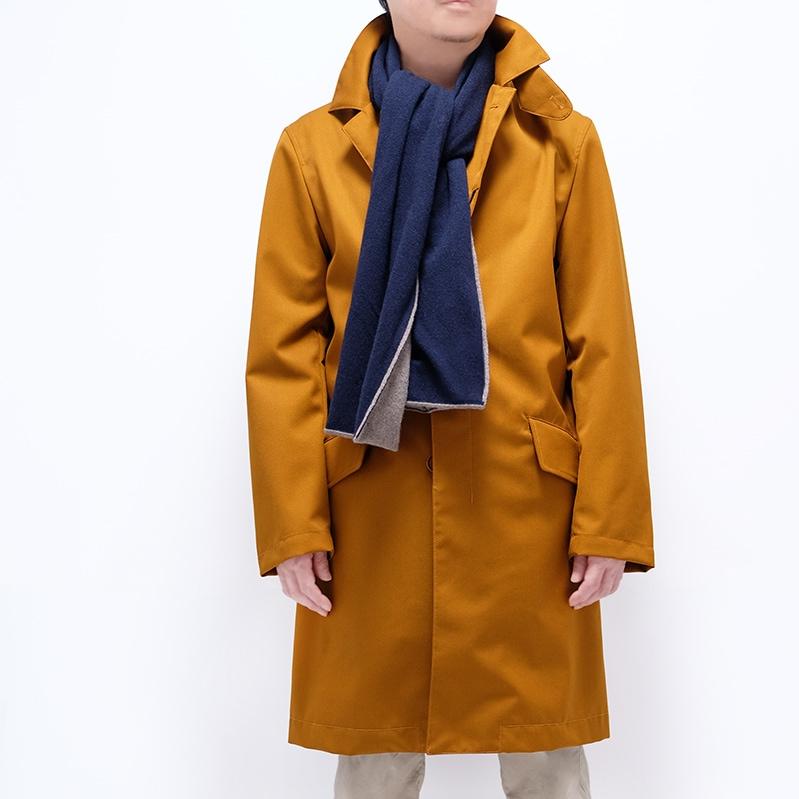 人気のバイカラーマフラー ネイビー  メンズ 秋冬コート ブラウン