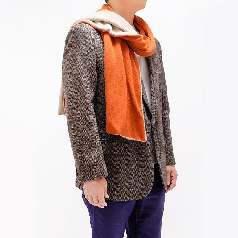 人気のバイカラーマフラー オレンジ メンズツィードジャケット ブラウン