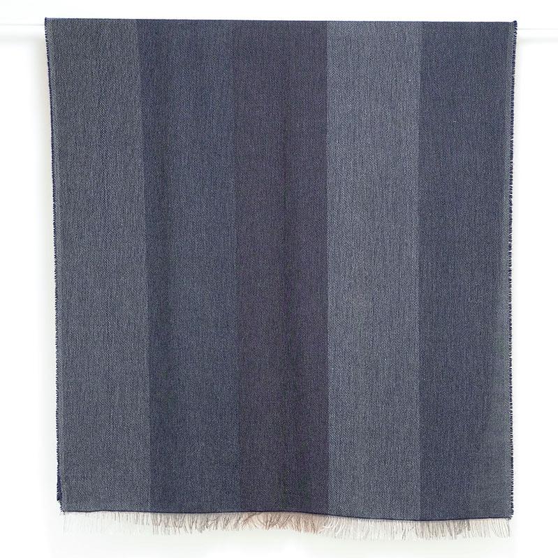イタリア製 大判ストール 男性女性兼用デザイン ブロッコ・ブルー(青色系)5