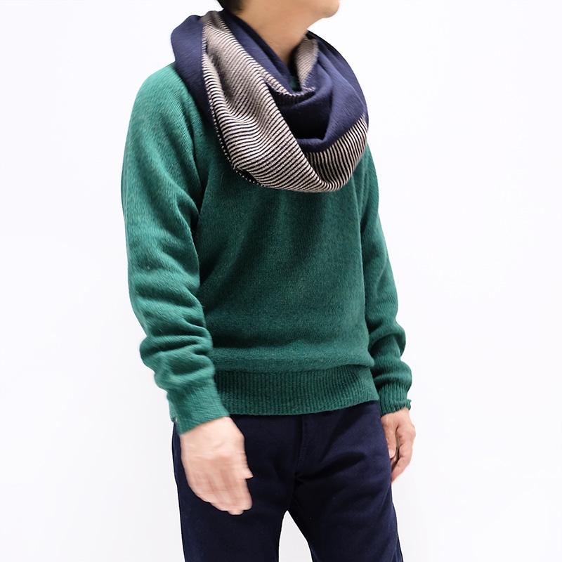 メンズ大判ストール ボーダー ネイビー メンズカジュアル グリーンのセーター2