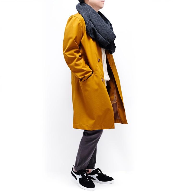 メンズ大判ストール ツイード ダークグレー メンズカジュアル キャメルのコート1