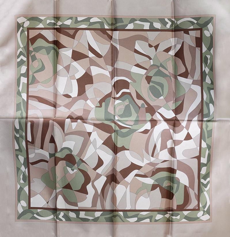 イタリア製 春夏スカーフ モカ茶カーキ・幾何学模様3