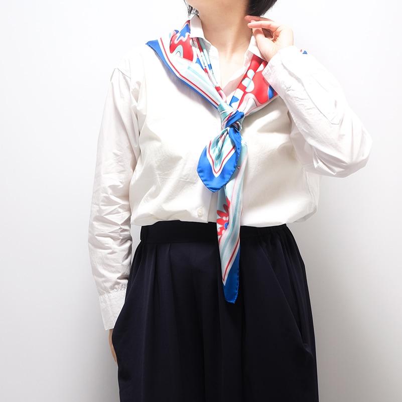 イタリア製 春夏スカーフ ブルー・ビオージェノ3