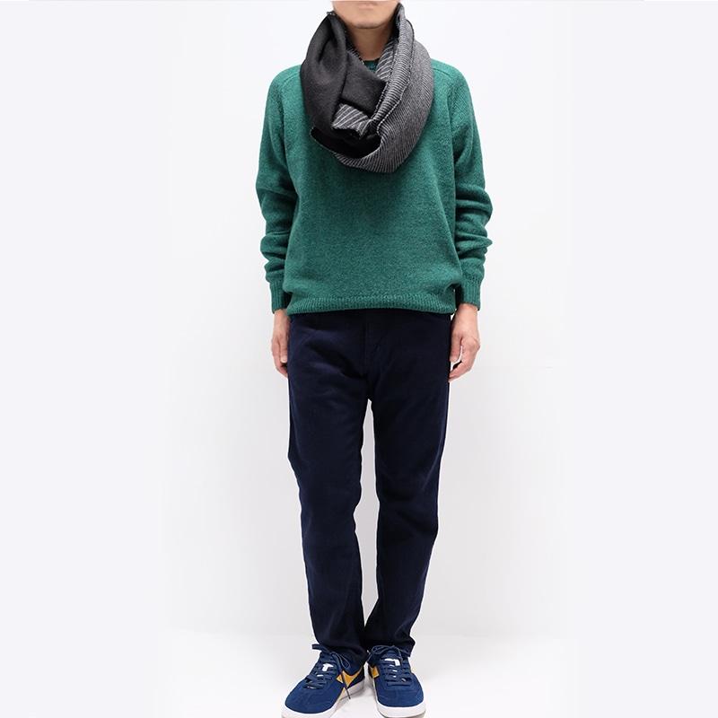 メンズ大判ストール ボーダー ブラック メンズカジュアル グリーンのセーター2