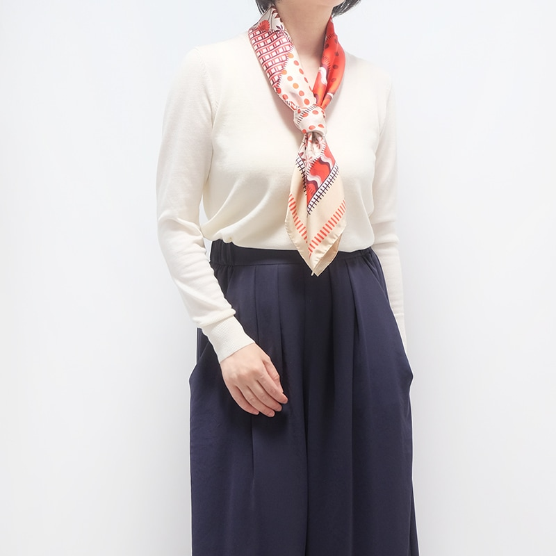 イタリア製 春夏スカーフ レッド・ジャルディーノ5