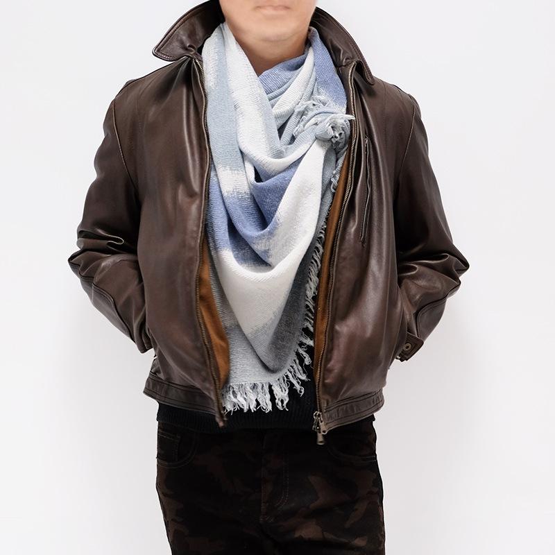 イタリア製 大判ストール アフガン風巻き 男性女性兼用デザイン スカフォーレ・ブルーブルー3
