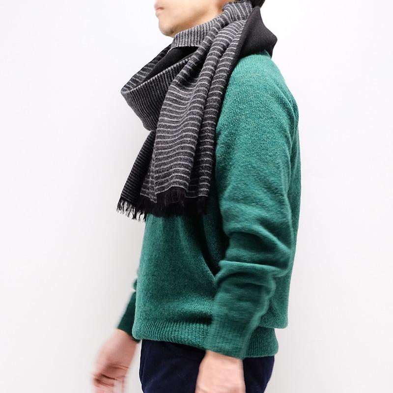 メンズ大判ストール ボーダー ブラック メンズカジュアル グリーンのセーター1