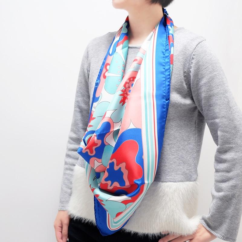イタリア製 春夏スカーフ ブルー・ビオージェノ6