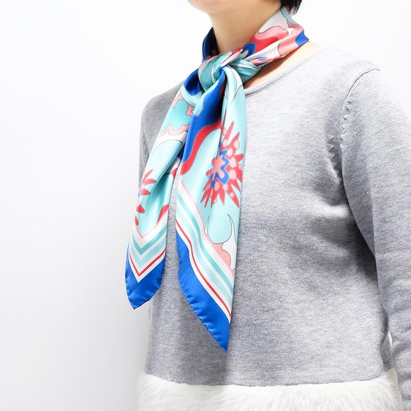 イタリア製 春夏スカーフ ブルー・ビオージェノ1