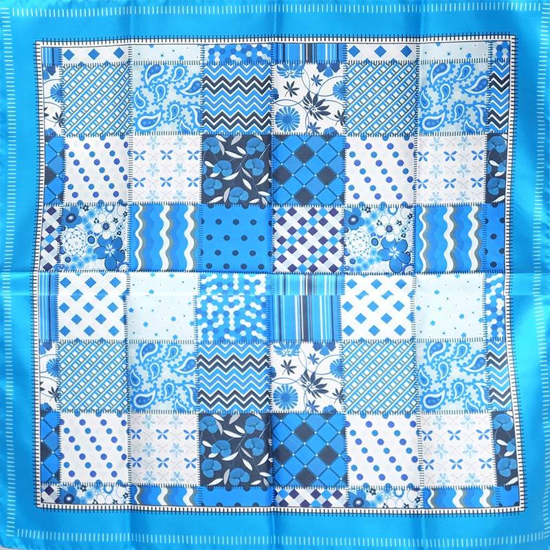 シルクスカーフ イタリア製 88cm角約90×90サイズ ブルー色 パッチワーク模様2