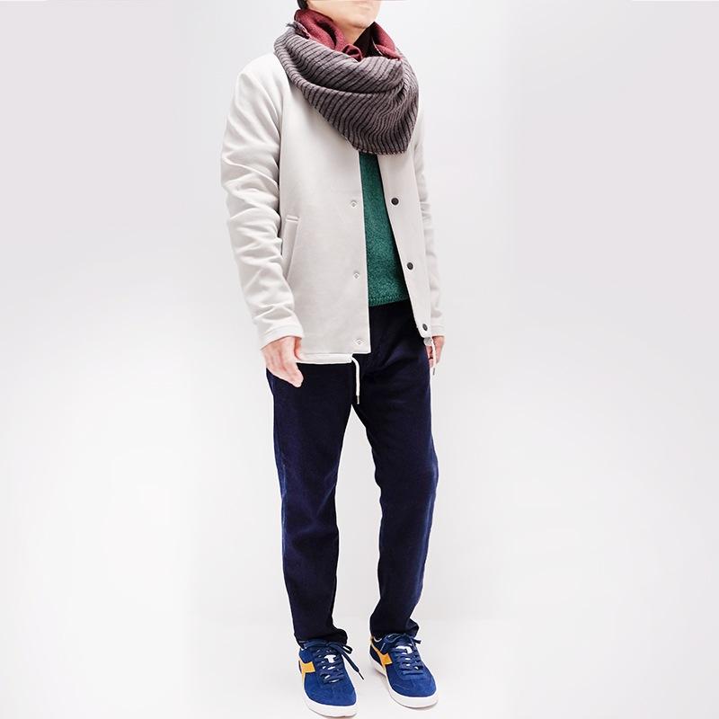 メンズ大判ストール ボーダー ワイン メンズカジュアル グリーンのセーター2