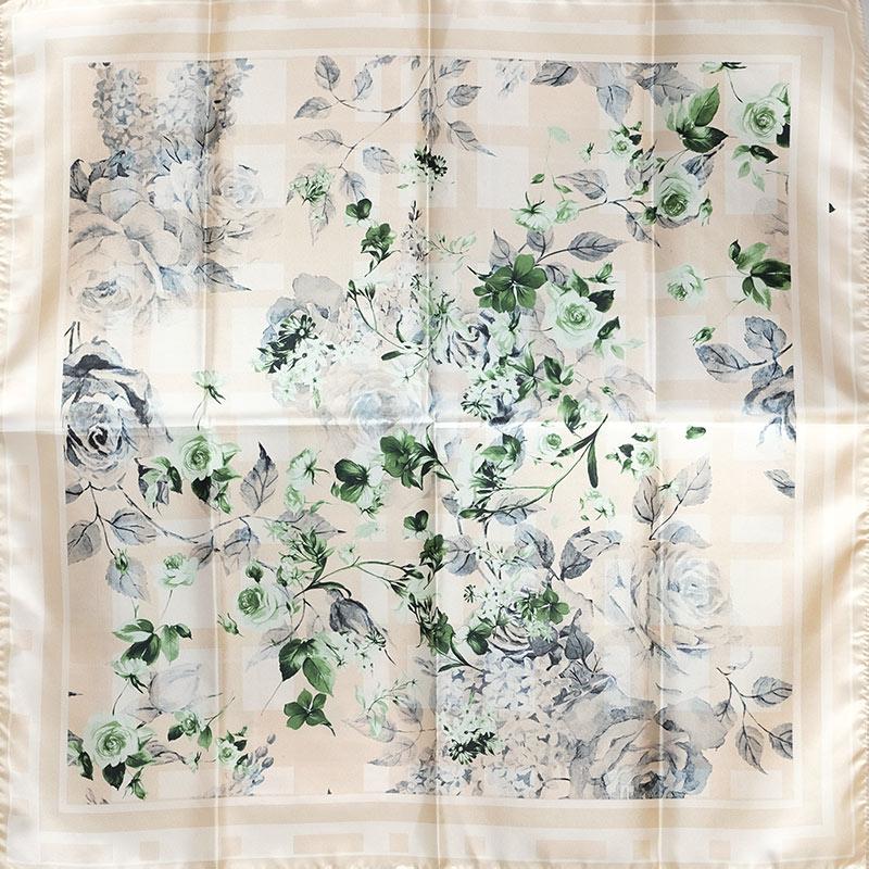イタリア製 春夏スカーフ ベージュ・フラワーガーデン3